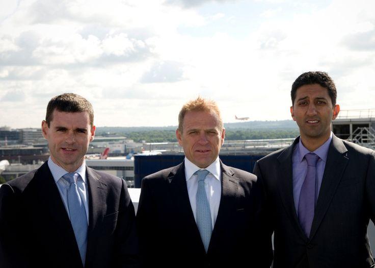 Topping out Hampton By Hilton Longbridge House, Gatwick, London.  From left: Eamon Higgins, finance director, construction, McAleer & Rushe; Simon Vincent, area president, EMEA, Hilton Worldwide; Rishi Sachdev, managing director of Shiva Hotels