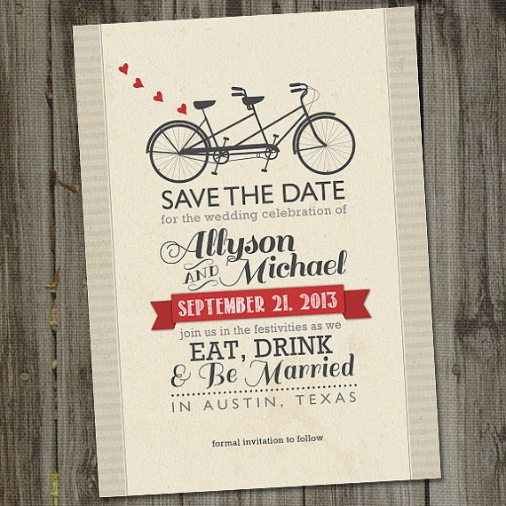 Vintage Retro Bicycle Built for Two PRINTABLE Save the Date Wedding Announcement on Etsy, $15.00