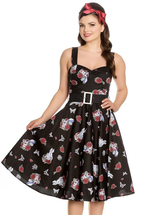 Drink Me dress by Hell Bunny features an Alice in Wonderland inspired print of rabbits, cards, roses, butterflies and teacups on black background. The bodice is fitting with flattering gathering over the bust.