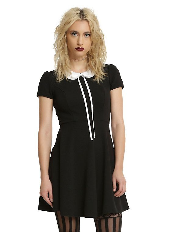Black & White Collar Long Bow Fit & Flare Dress, GREEN