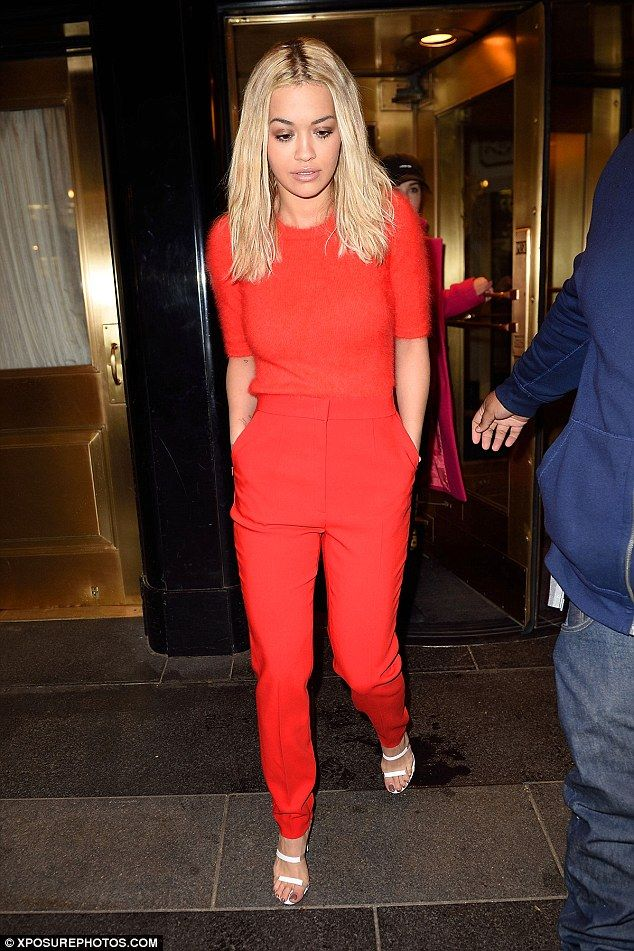Scarlet siren: Rita Ora seemed to brush off the Jay Z cheating rumours as she stepped out in a red ensemble on Friday night in New York