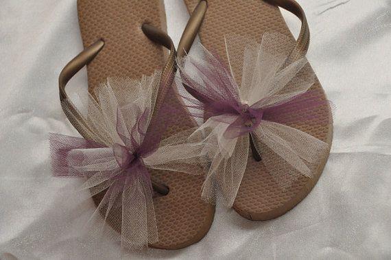 Custom WEDDING Flip Flops, BRIDESMAID Flip Flops, Simple & Elegant Tulle Flip Flops, Bridesmaid Gifts, Bridal Party Gift, Beach Weddings on Etsy, $13.74 CAD