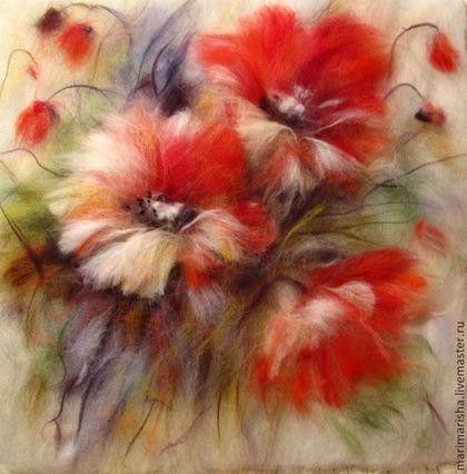Купить Картина из шерсти Дыхание лета - коралловый, маки, цветы, алые маки, купить подарок