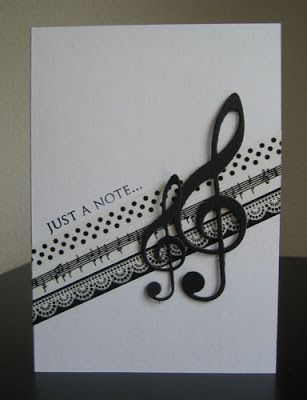 handmade card ... CAS(E) this Sketch #23 ~ à la Kaart Blog: Just a note ~ Card by Anita Corsten ... black and white ... band of washi strips on a diagonal ... die cut treble clefs ... like it!