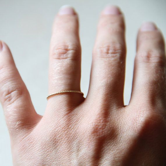 One Solid 14k Gold Rope Thread Ring - Tiny Twist Textured Stacking Ring - Delicate Jewelry - Memory Ring  size L or USA 5.5