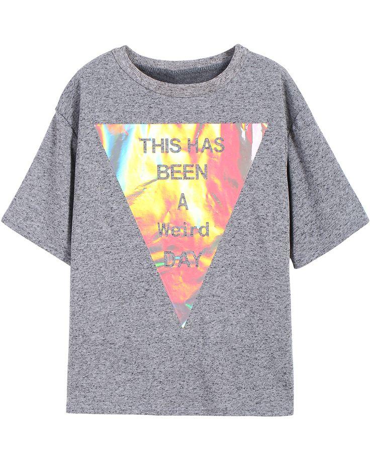 Grey Geometric Print Short Sleeve T-shirt 15.17