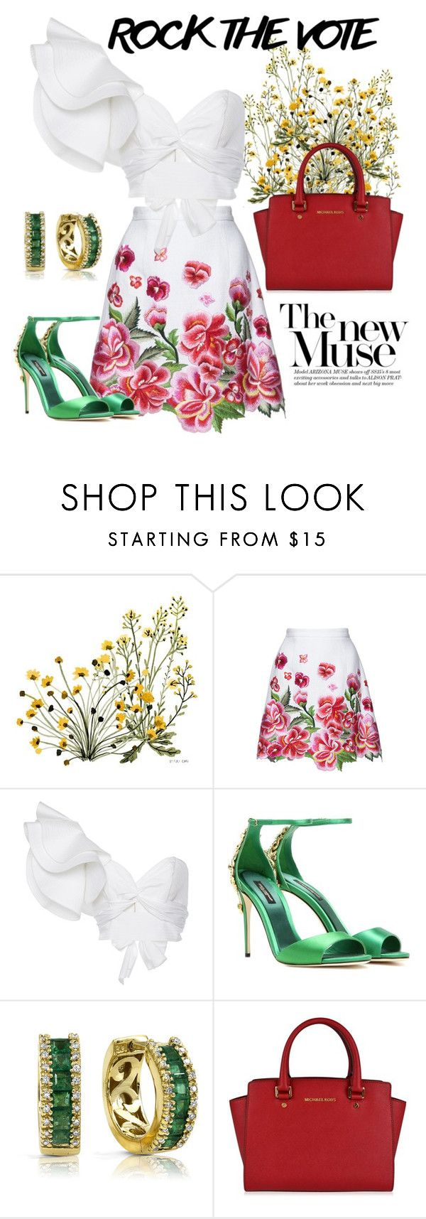 """""""Patriotism overload"""" by gladys-michelle-appleseed ❤ liked on Polyvore featuring Andrew Gn, Johanna Ortiz, Dolce&Gabbana, Effy Jewelry and MICHAEL Michael Kors"""