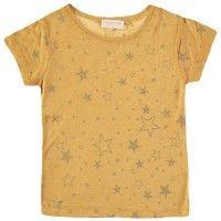 SIMPLE KIDS Koala T-Shirt in Miel. Fine linen t-shirt with metallic glitter star print from LITTLECIRCLE Spring Summer 2016 Girls Collection. Shop now: littlecircle.co.uk
