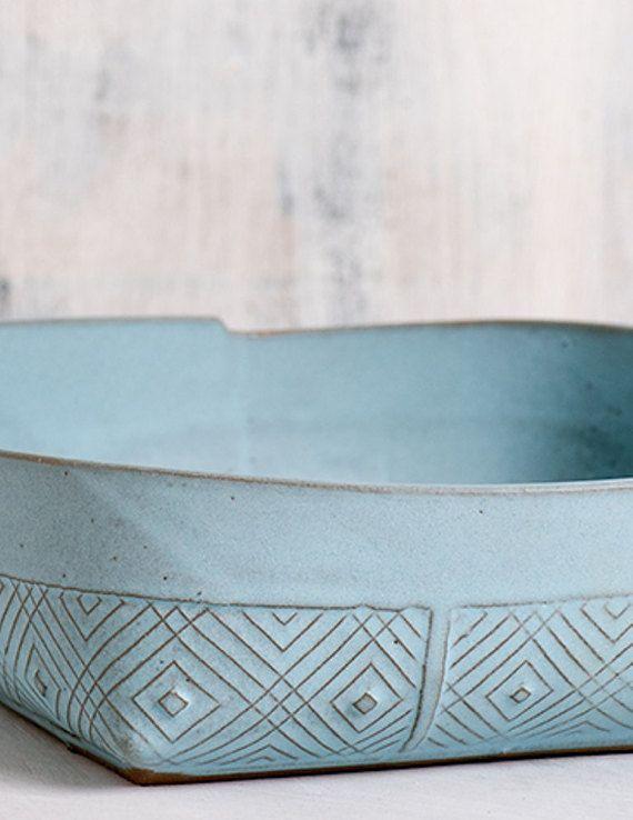 Ceramic Serving Bowl Fruit Bowl light blue Bowl by FreeFolding
