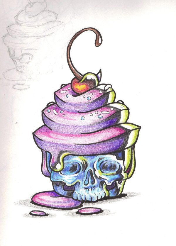 Horror Cake by shadowkeeper1327 cherry skull cupcake color Tattoo Flash art ~A.R.