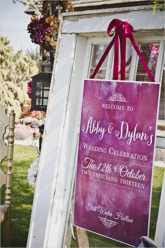 water color wedding sign #weddingsign #purplewedding #weddingchicks http://www.weddingchicks.com/2014/01/14/deep-purple-wedding/
