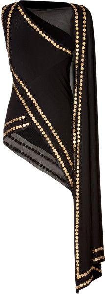 Donna Karan New York Gold Coin Embellished Cold Shoulder Top ... I think I am in love ...