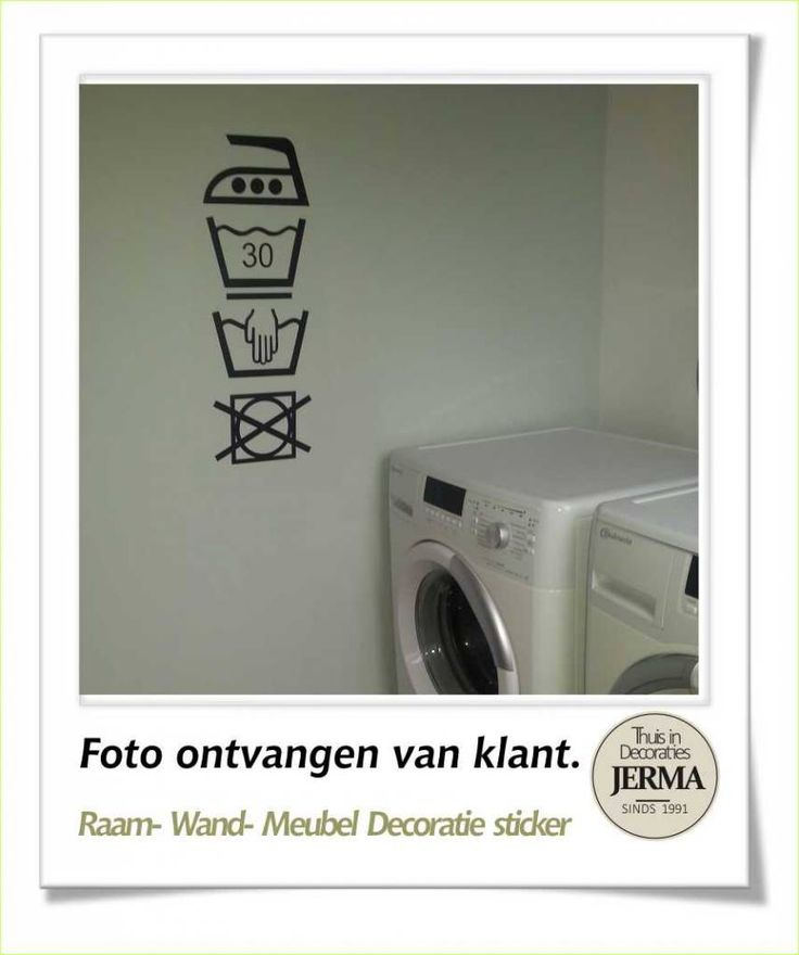 Raam-, Wand decoratiesticker wassymbolen sticker washok Laudry washok tekst met pictogram wasgoed etiketjes