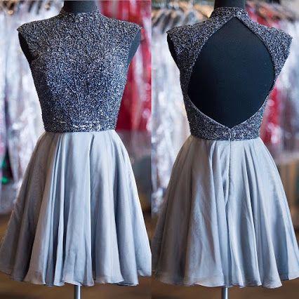 Short Custom Homecoming Dresses,Grey Homecoming Dresses,High Neck Homecoming Dresses,Sparkly Beads Homecoming Dresses,Cocktail Dresses
