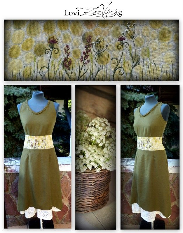 Embroidered linen dress with flowers