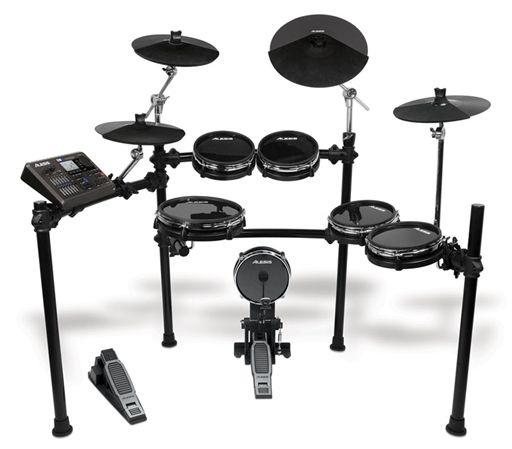Alesis DM10 Studio Kit Electronic Drum Set.  This looks like an affordable electric kit. Probably not the highest quality, but for the price it's pretty good.