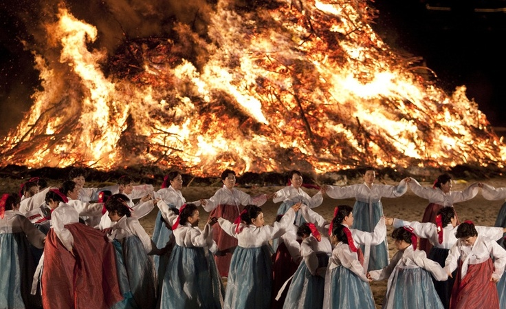 The dance is thought to have originated around 5,000 years ago when the Koreans believed that the Sun, Moon, and Earth controlled the universe. Participants would dance under the brightest full moon of the year in order to bring about a good harvest.