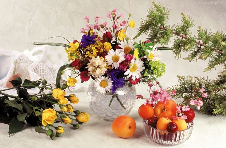 Kompozycja, Dekoracja, Bukiet, Polnych, Kwiatów, Róże, Owoce, Morele