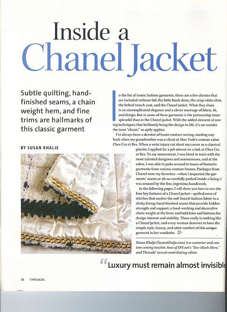 Page 1 Threads article inside a Chanel Jacket 121