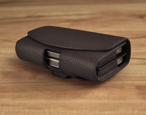 Double Decker - Custom Handcrafted Dual Phone Leather Holster Pouch for Carrying 2 Smartphones