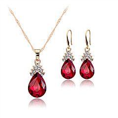 Dames+Sieraden+Set+Druppel+oorbellen+Hangertjes+ketting+Kristal+Elegant+Bruids+Kostuum+juwelen+Kristal+Drop+Oorbellen+Ketting+Voor+Feest+–+EUR+€+8.13