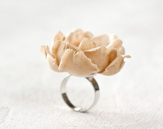 Neutral flower ring Floral ring rustic ring fabric by ArsiArt, $10.00