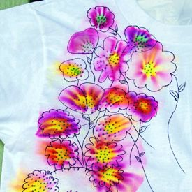 "Make an awesome ""tie-dye"" t-shirt with Sharpie markers and rubbing alcohol.  I'm not sure I would wear the shirt but might try this on flour sack dish towels for the kichen."