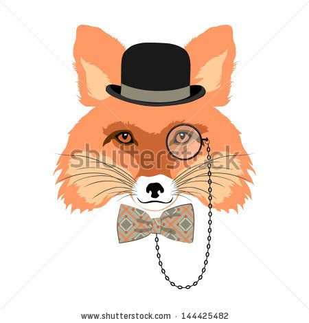 animal vector portrait, fox in bowler hat and monocle, vintage style portrait by Olga_Angelloz, via ShutterStock