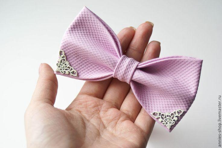 Купить Галстук-бабочка розовый с уголками - кремовый, орнамент, фактура, барби, узор, уголки
