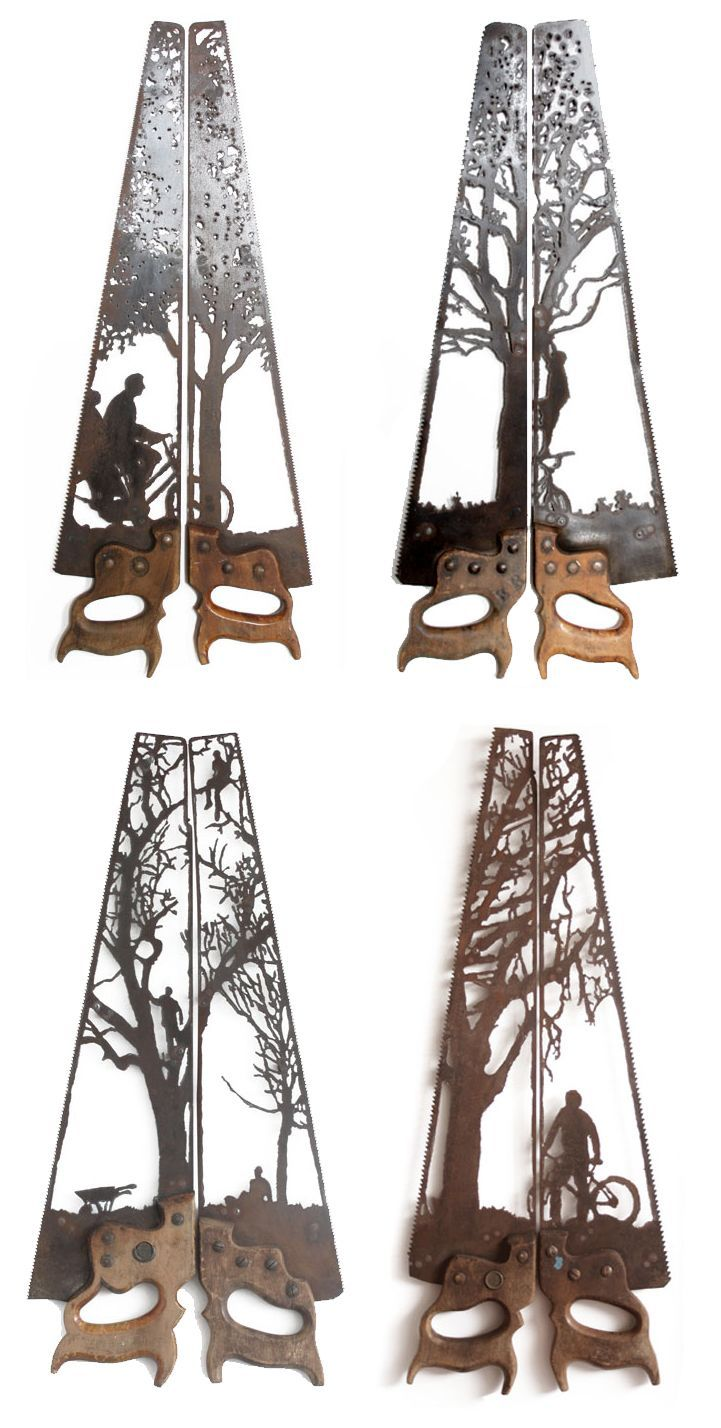 Intricately Rustic Designs Carved into Antique Farm Equipment