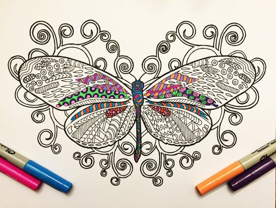 Butterfly & Swirls - PDF Zentangle Coloring Page
