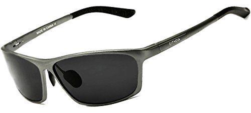 ATTCL® 2015 Al Mg Metallrahmen Polarisierte Fahren Sonnenbrille Herren 16520 grau