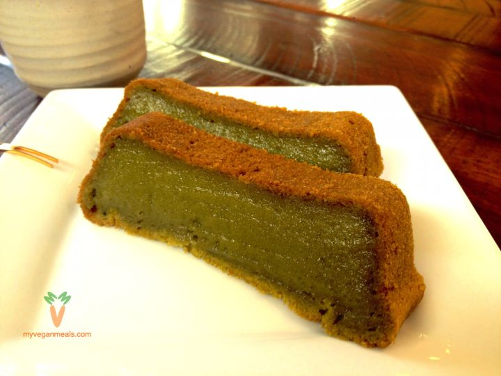 #Vegan and #Glutenfree Matcha Mochi Cake. Surprise your guests with this delicious #Japanese inspired #dessert with a gelatinous, chewy texture. No butter, condensed milk or eggs! Matcha, mochiko, brown rice flour, beet sugar, baking powder, salt, unsweetened coconut milk, apple sauce, vanilla extract and coconut oil. Visit our blog for the full recipe!