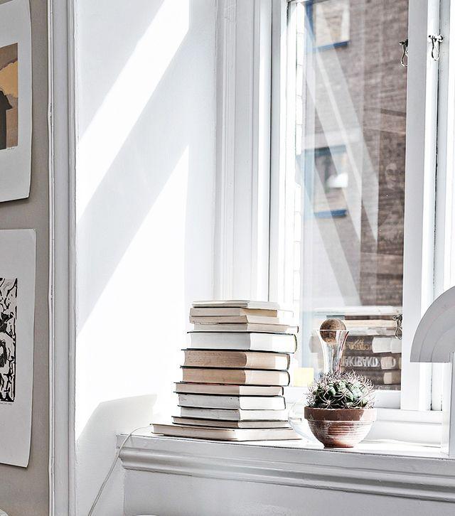 Books on the window sill