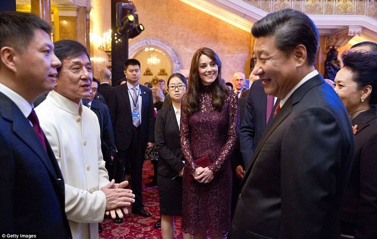 The Duchess of Cambridge, Chinese President Xi Jinping and his wife, Madame Peng Liyuan, talk with Kung-Fu star Jackie Chan as they attend a Creative Collaborations: UK & China event