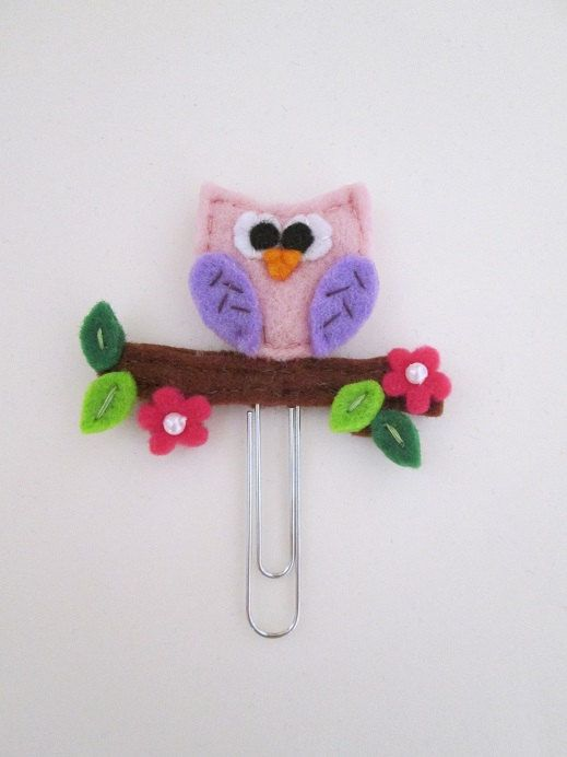 Felt Bookmark: Spring Owl Paperclip di TinyFeltHeart su Etsy