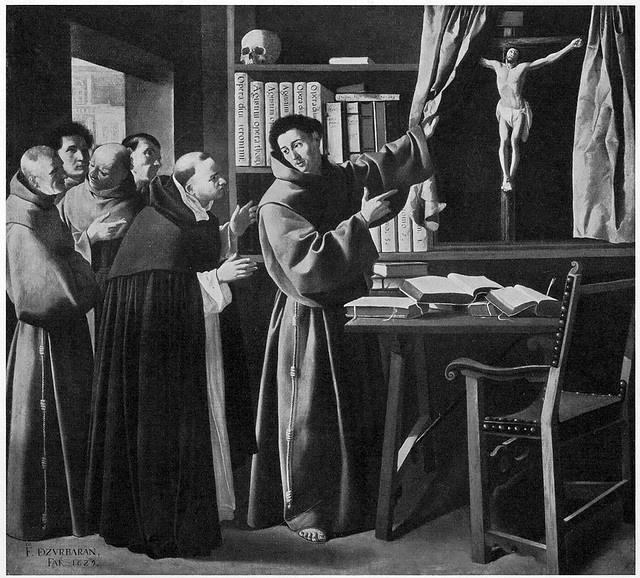 """Francisco Zurbarán, """"San Bonaventura rivela il Crocifisso a San Tommaso d'Aquino"""" (1629). Il dipinto si presume sia andato distrutto in un incendio nel maggio del 1945."""