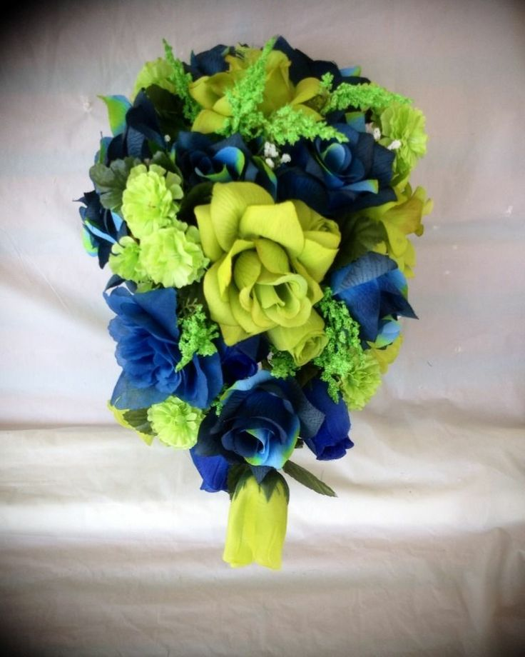 (4) pc Wedding Bridal Bride Bouquet Boutonniere Lime Green Navy Blue Cascade Gem