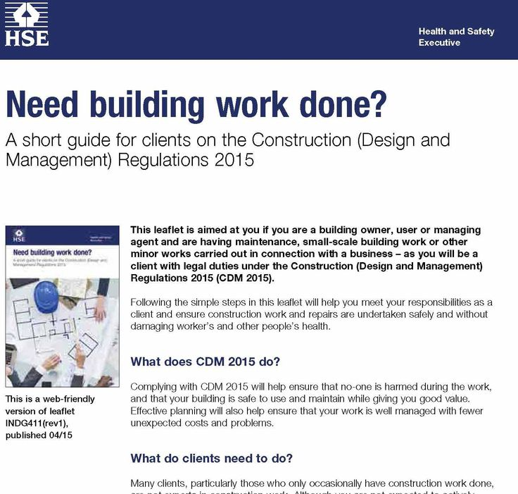 HSE SET OUT SMALL PROJECT CLIENT CDM 2015 DUTIES (With