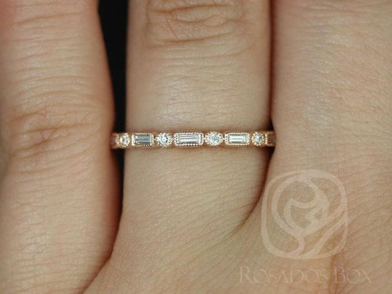 Ivanna 14kt Rose ronde or & diamants Baguette avec par RosadosBox