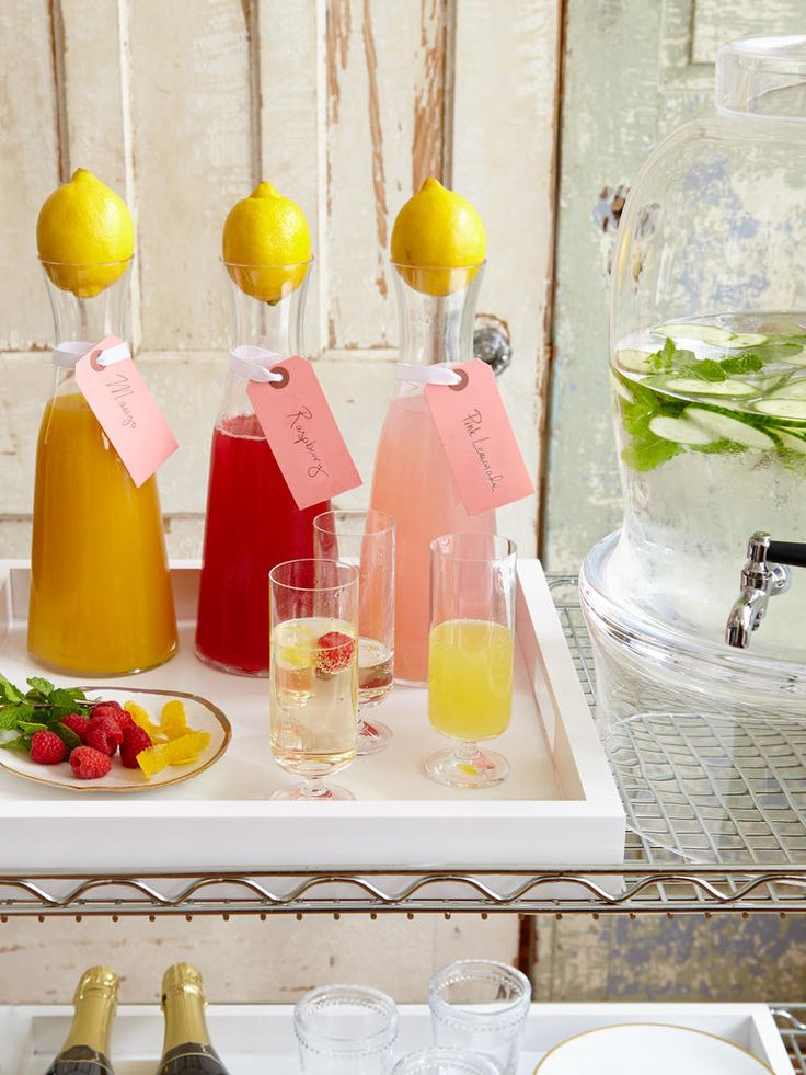 DIY Champagne Bar | Stylish Cocktail Ideas for a Summer Bridal Shower | https://www.theknot.com/content/stylish-bridal-shower-cocktail-ideas
