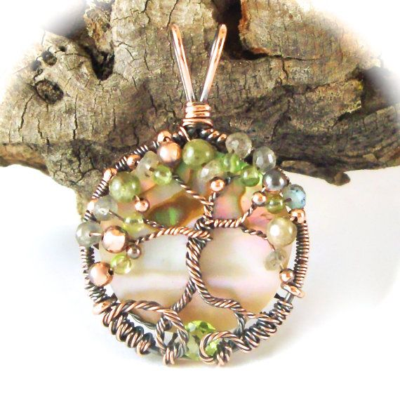 Wire Wrapped Tree of Life Pendant Abalone in by CBGJewelryDesigns