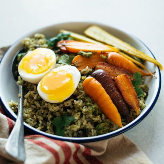 Rice Bowl with Green Pepper Sauce, Roasted Carrots and Soft Boiled Eggs - a tasty vegetarian meal that cost under $12 to make!