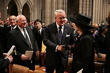 Mikhail Gorbachev (left), Brian Mulroney (center), and Margaret Thatcher (right) attended Reagan's funeral