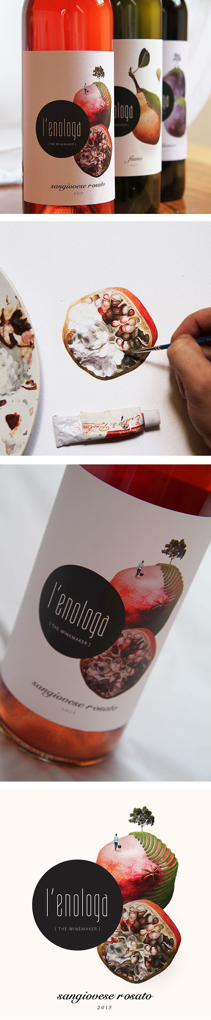 Colourful Wine Label Collection. Client: L'enologa, Mildura, VIC Australia. The artworks are hand painted water colours with some mixed media details. The labels depict the journey of L'enologa, Italian for 'the winemaker' swept away in her own creation w