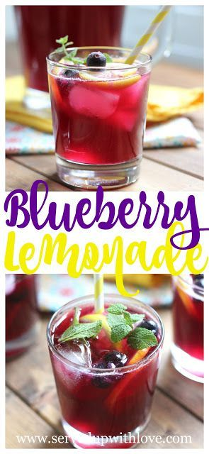 Blueberry Lemonade recipe from Served Up With Love is the perfect taste of summer in a glass. www.servedupwithlove.com