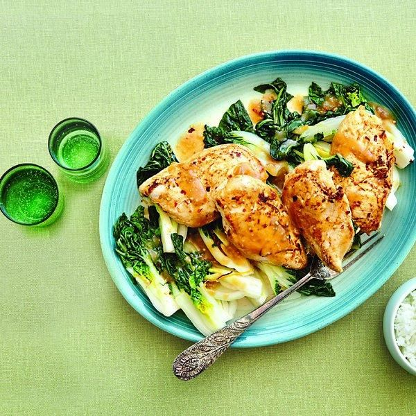 Serve this classic — vitamin-rich and protein-packed — Lemon chicken with bok choy recipe over rice or vermicelli noodles.