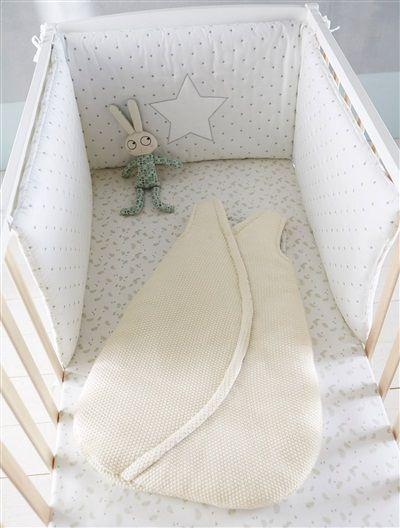 Contorno de berço em voile de algodão estampado, para bebé BRANCO ESTAMPADO