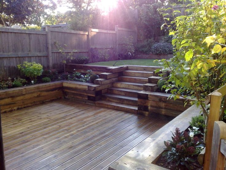 photo of split level split-level robert james landscapes garden with steps and decking decking area railway sleepers raised borders