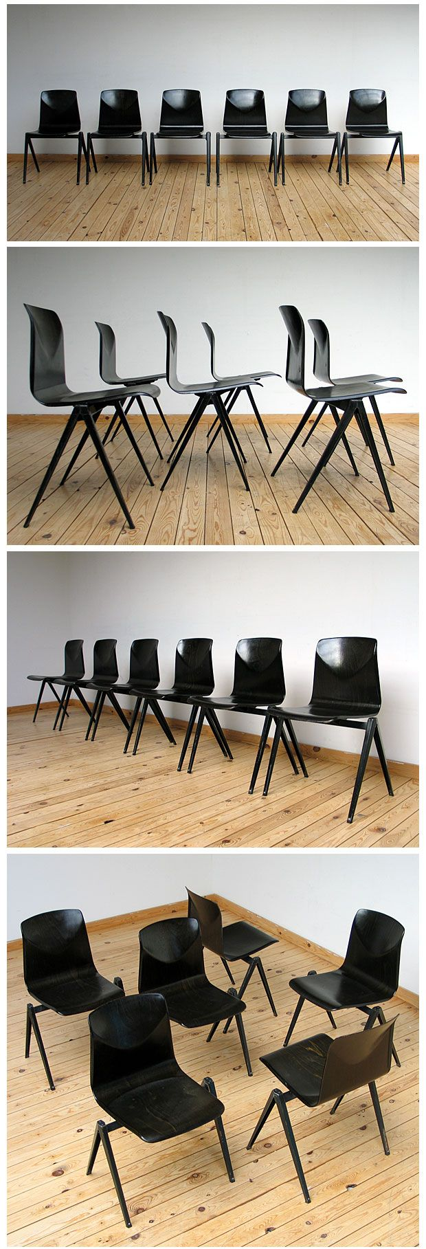 Industrial plywood school chairs by Friso Kramer